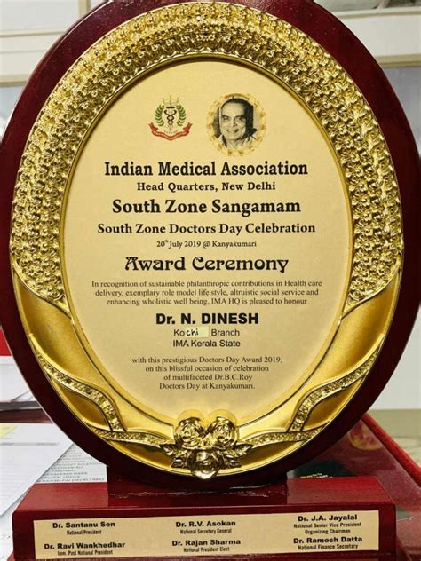 Faculty Receives Doctors Day Award 2019 at IMA South Zone