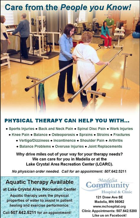 Physical Therapy ad including Aquatic Therapy at LCARC